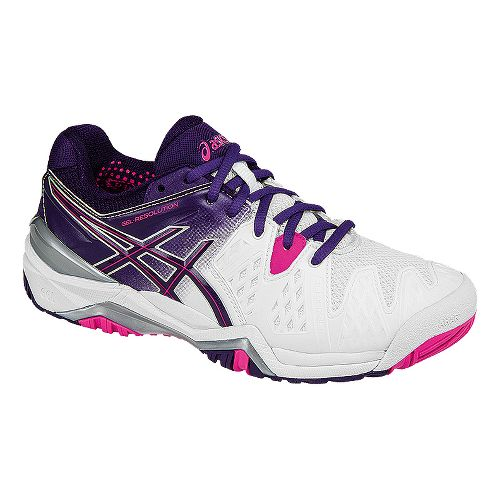 Womens ASICS GEL-Resolution 6 Court Shoe - White/Purple 6