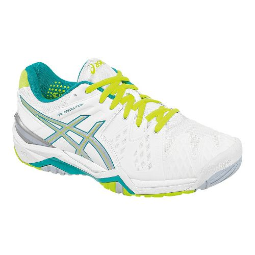 Womens ASICS GEL-Resolution 6 Court Shoe - White/Emerald 5.5