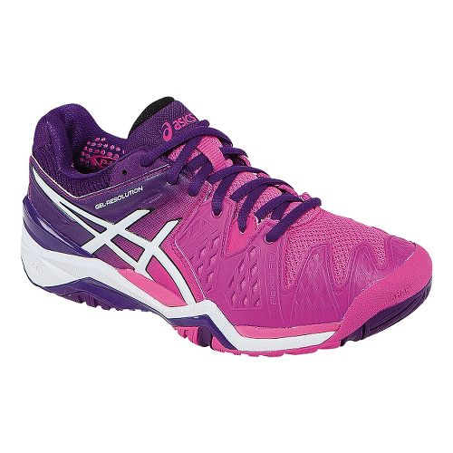 Womens ASICS GEL-Resolution 6 Court Shoe - Hot Pink/Purple 6.5