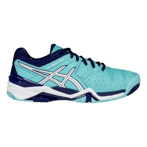 Womens ASICS GEL-Resolution 6 Court Shoe - White/Emerald 6.5