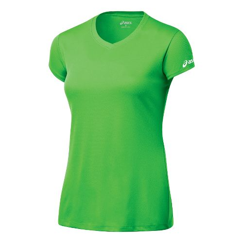 Womens ASICS Circuit-7 Warm-Up Shirt Short Sleeve Technical Tops - Neon Green XS