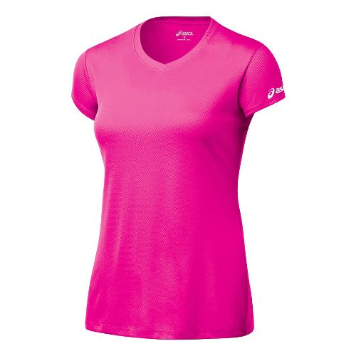 Womens ASICS Circuit-7 Warm-Up Shirt Short Sleeve Technical Tops - Pink Glo XXL