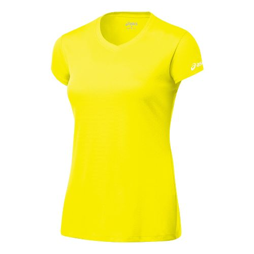 Womens ASICS Circuit-7 Warm-Up Shirt Short Sleeve Technical Tops - Neon XS