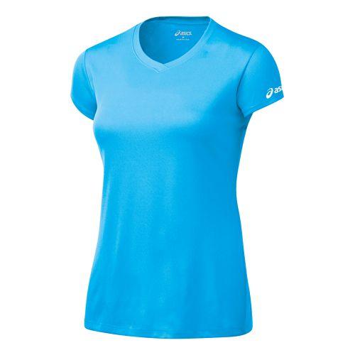 Womens ASICS Circuit-7 Warm-Up Shirt Short Sleeve Technical Tops - Cyan Blue L