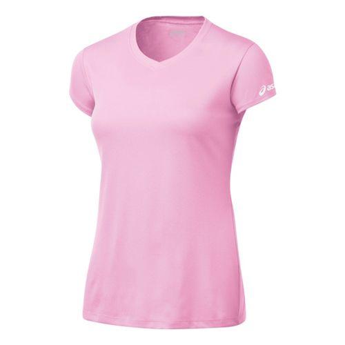 Womens ASICS Circuit-7 Warm-Up Shirt Short Sleeve Technical Top - Pink L