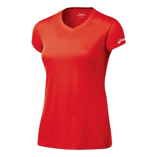 Womens ASICS Circuit-7 Warm-Up Shirt Short Sleeve Technical Tops - Red L