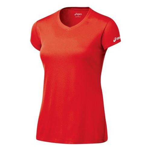 Womens ASICS Circuit-7 Warm-Up Shirt Short Sleeve Technical Tops - Red XL