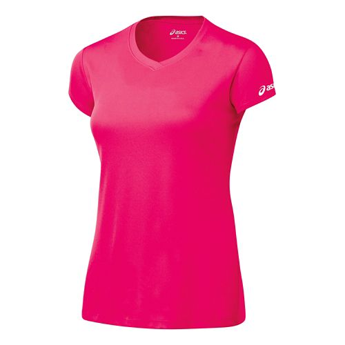 Womens ASICS Circuit-7 Warm-Up Shirt Short Sleeve Technical Tops - Rhapsody XXL