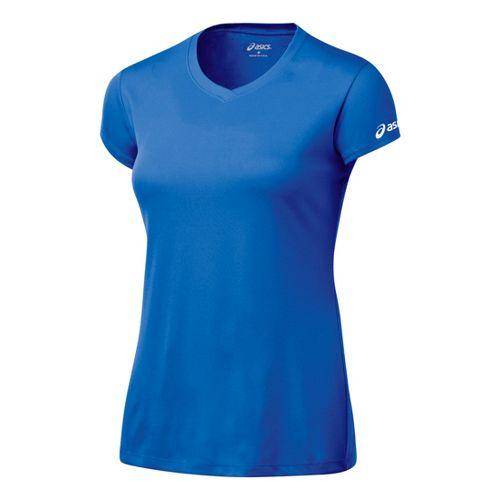 Womens ASICS Circuit-7 Warm-Up Shirt Short Sleeve Technical Tops - Royal L