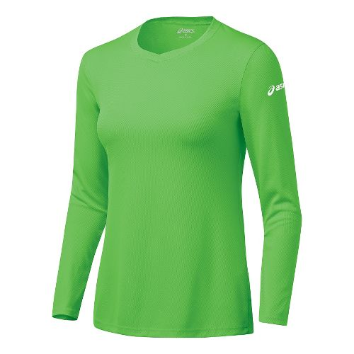 Womens ASICS Circuit-7 Warm-Up Long Sleeve No Zip Technical Tops - Neon Green S