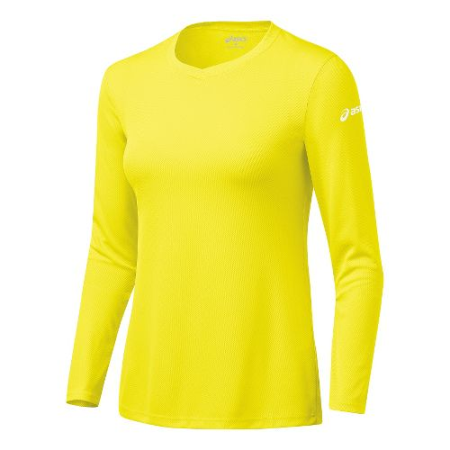 Womens ASICS Circuit-7 Warm-Up Long Sleeve No Zip Technical Tops - Neon XS