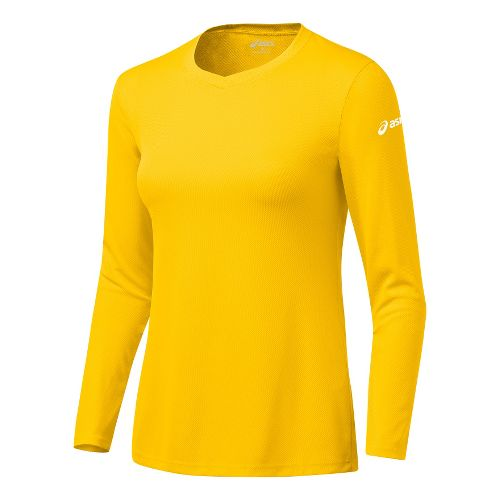 Womens ASICS Circuit-7 Warm-Up Shirt Long Sleeve No Zip Technical Tops - Gold M