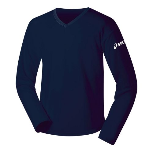 Womens ASICS Circuit-7 Warm-Up Shirt Long Sleeve No Zip Technical Tops - Navy L