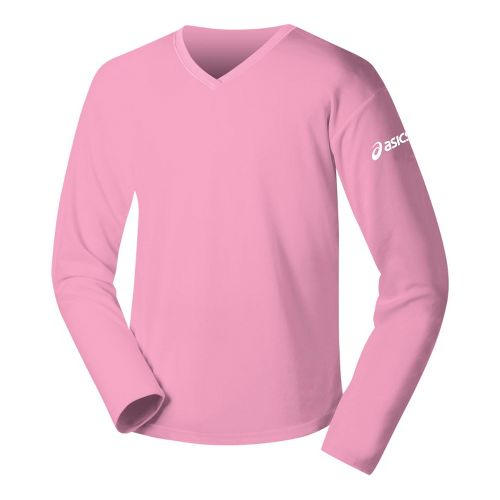 Womens ASICS Circuit-7 Warm-Up Shirt Long Sleeve No Zip Technical Tops - Pink XS