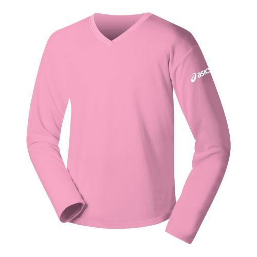 Womens ASICS Circuit-7 Warm-Up Long Sleeve No Zip Technical Tops - Pink XXL