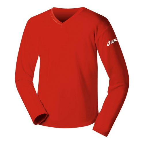 Womens ASICS Circuit-7 Warm-Up Shirt Long Sleeve No Zip Technical Tops - Red L