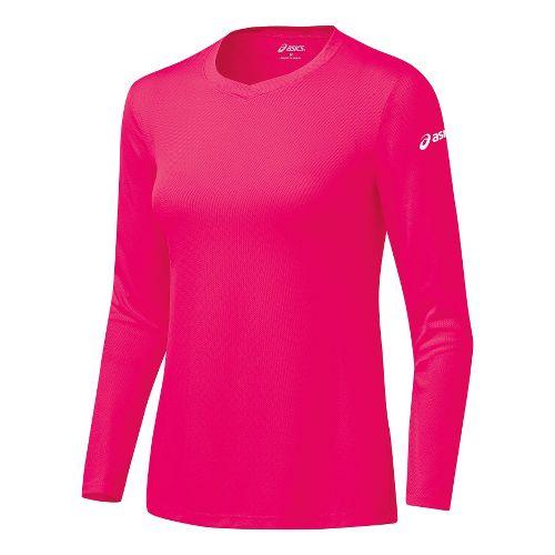 Womens ASICS Circuit-7 Warm-Up Shirt Long Sleeve No Zip Technical Tops - Rhapsody XS