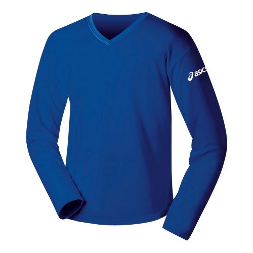 Womens ASICS Circuit-7 Warm-Up Shirt Long Sleeve No Zip Technical Tops - Royal S