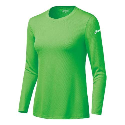 Womens ASICS Circuit-7 Warm-Up Shirt Long Sleeve No Zip Technical Tops - Snap L