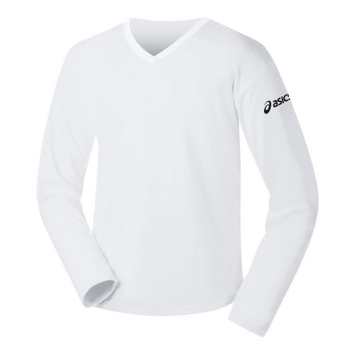 Womens ASICS Circuit-7 Warm-Up Long Sleeve No Zip Technical Tops - White XS