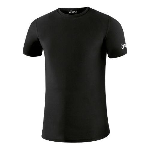 Mens ASICS Compression Short Sleeve Technical Tops - Black XL