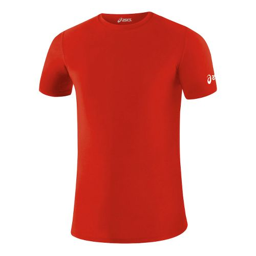 Mens ASICS Compression Short Sleeve Technical Tops - Red XXL