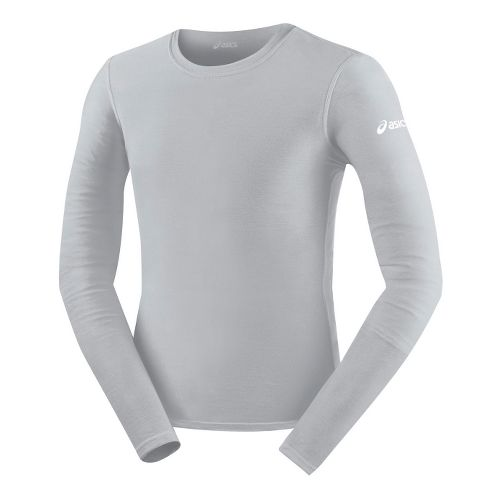 Mens ASICS Compression Long Sleeve No Zip Technical Tops - Athletic Grey M