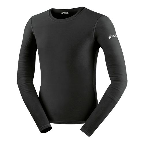 Mens ASICS Compression Long Sleeve No Zip Technical Tops - Black XXL