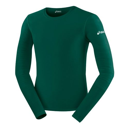 Mens ASICS Compression Long Sleeve No Zip Technical Tops - Forest L
