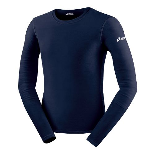 Mens ASICS Compression Long Sleeve No Zip Technical Tops - Navy M