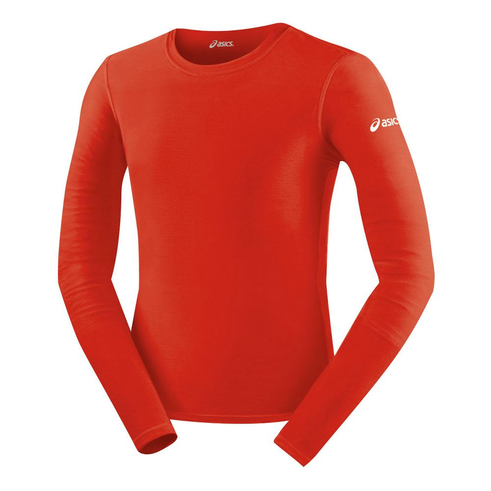 Mens-ASICS-Compression-Long-Sleeve-Red