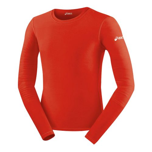 Mens ASICS Compression Long Sleeve No Zip Technical Tops - Red M