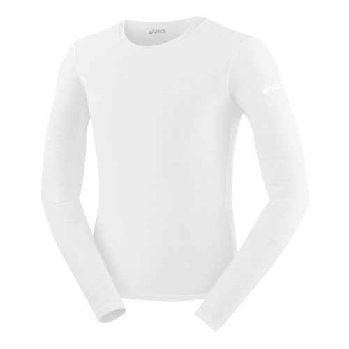 Mens ASICS Compression Long Sleeve No Zip Technical Tops - White XS