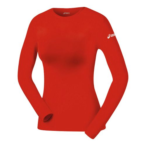 Womens ASICS Compression Long Sleeve No Zip Technical Tops - Red XS