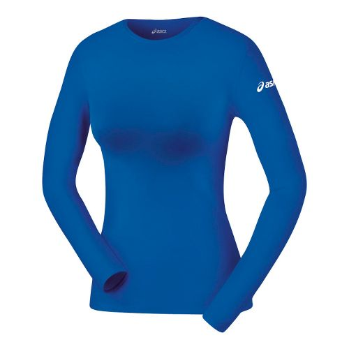 Womens ASICS Compression Long Sleeve No Zip Technical Tops - Royal L