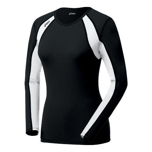 Womens ASICS Heater Long Sleeve No Zip Technical Tops - Black/White L