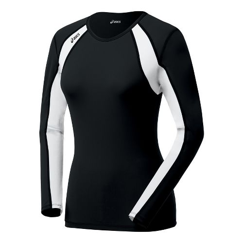 Womens ASICS Heater Long Sleeve No Zip Technical Tops - Black/White XS