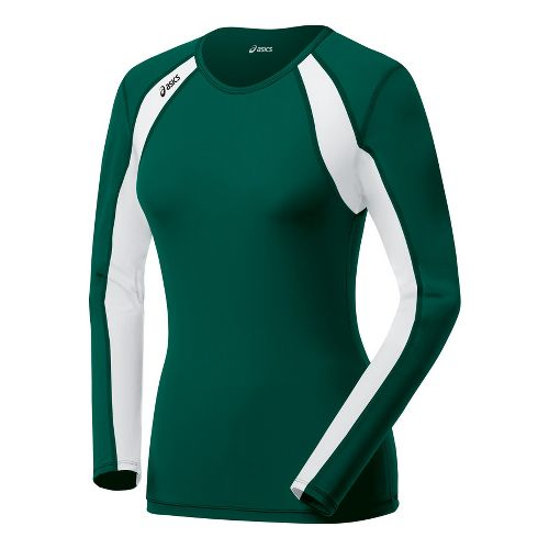 Womens ASICS Heater Long Sleeve No Zip Technical Tops - Forest/White L