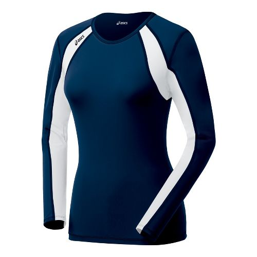 Womens ASICS Heater Long Sleeve No Zip Technical Tops - Navy/White L