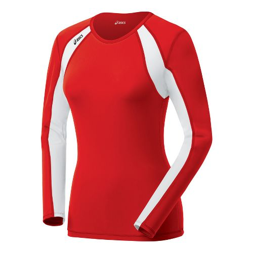 Womens ASICS Heater Long Sleeve No Zip Technical Tops - Red/White XXL