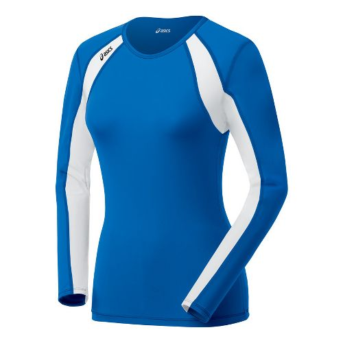 Womens ASICS Heater Long Sleeve No Zip Technical Tops - Royal/White L