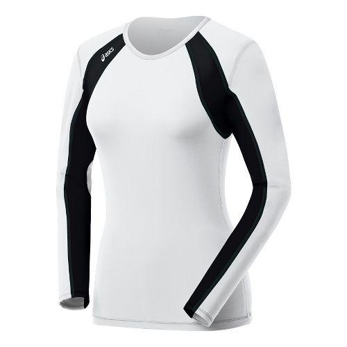 Womens ASICS Heater Long Sleeve No Zip Technical Tops - White/Black L