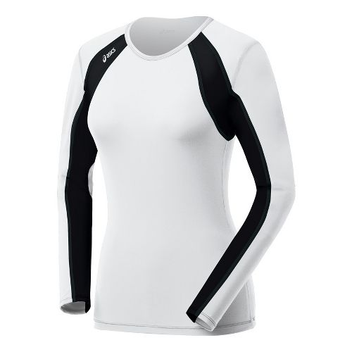 Womens ASICS Heater Long Sleeve No Zip Technical Tops - White/Black S