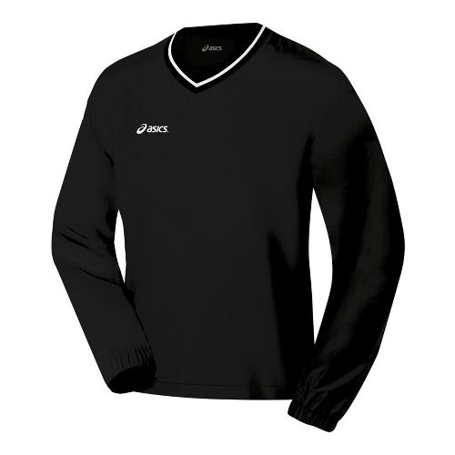 Mens ASICS V-Neck Windshirt Long Sleeve No Zip Technical Tops - Black L