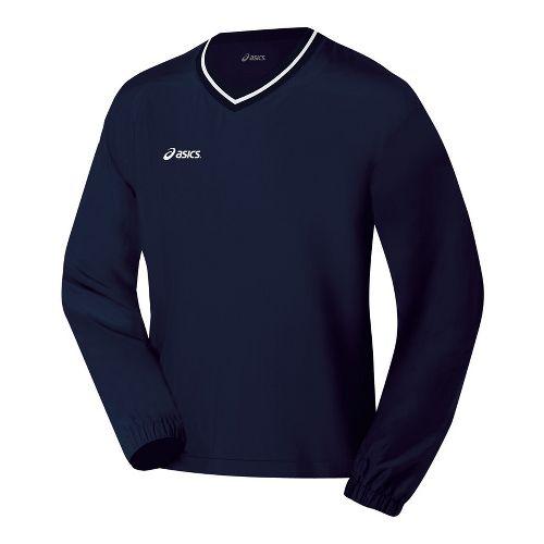 Mens ASICS V-Neck Windshirt Long Sleeve No Zip Technical Tops - Navy XL