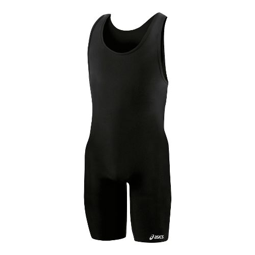 Mens ASICS Solid Modified Singlet Wrestling UniSuits - Black XXS
