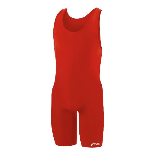Mens ASICS Solid Modified Singlet Wrestling UniSuits - Red M