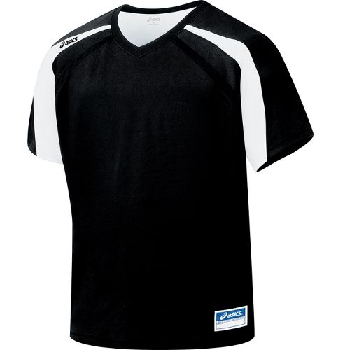 Mens ASICS Crosse Jersey Short Sleeve Technical Tops - Black/White XL