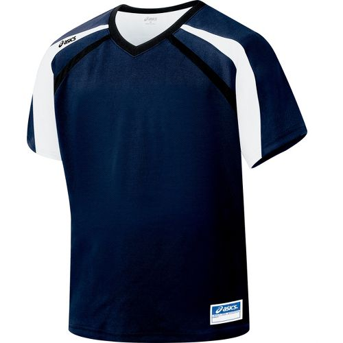Mens ASICS Crosse Jersey Short Sleeve Technical Tops - Navy/Black M