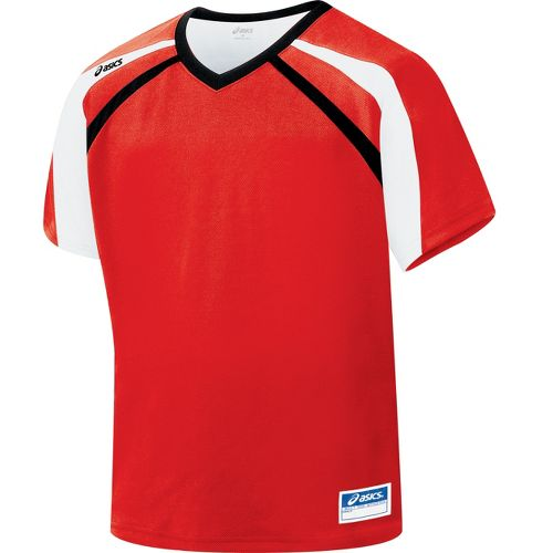 Mens ASICS Crosse Jersey Short Sleeve Technical Tops - Red/Black XL